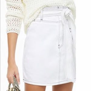 High waisted white denim skirt with tie
